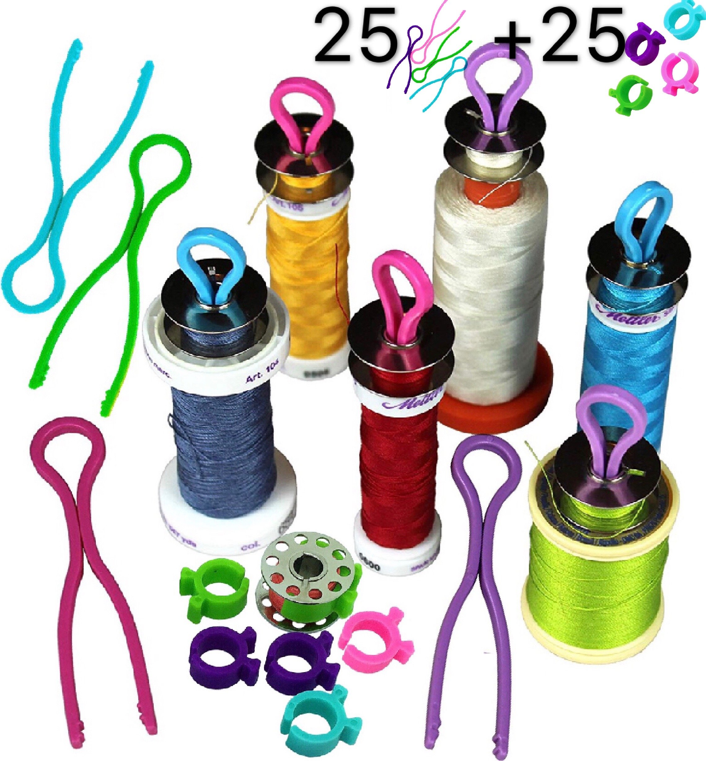 PeavyTailor 50 Pcs Bobbin Buddies Bobbin Holde Clips Thread Organizer Matching Thread Spools Together 25+25